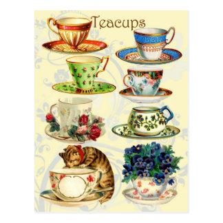 Carte Postale Tasses de thé pendant le temps de thé