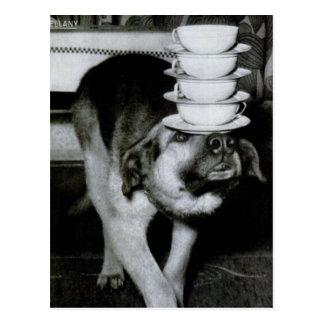 Carte Postale Tasses et soucoupes de transport de chien vintage