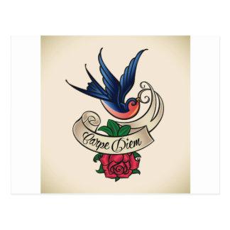 Carte Postale Tatouage d'oiseau bleu de Carpe Diem