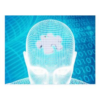 Carte Postale Technologie futuriste avec la puce d'esprit humain