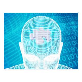 Carte Postale Technologie futuriste avec la puce Soluti d'esprit