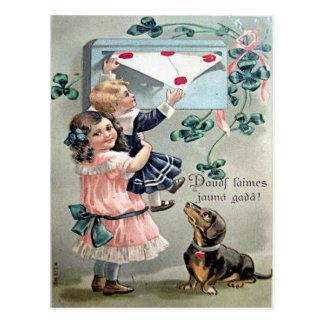 Carte Postale Teckel vintage de Valentine