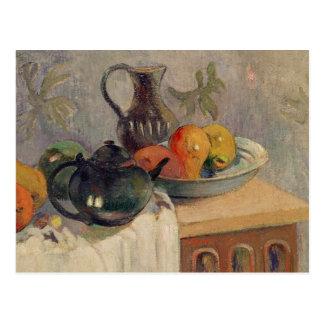 Carte Postale Teiera, Brocca e Frutta, 1899