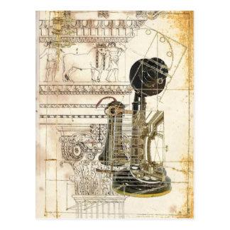 Carte Postale téléphone de cru d'antiquité de steampunk