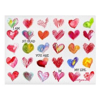 Carte postale TELLEMENT HEUREUSE de 30 coeurs de
