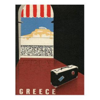 Carte Postale Temple vintage de parthenon d'Athènes de voyage de