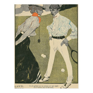 Carte Postale Tennis sur herbe