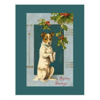Carte Postale Terrier vintage et houx
