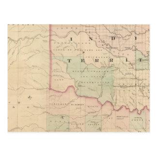 Carte Postale Territoire et Texas indiens, partie du nord-ouest