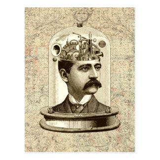 Carte Postale Tête de cerveau de rouages de Steampunk dans le