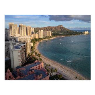 Carte Postale Tête de diamant, plage de Waikiki, Hawaï
