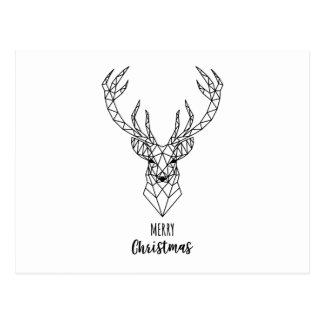 Carte Postale Tête géométrique de cerfs communs de Noël
