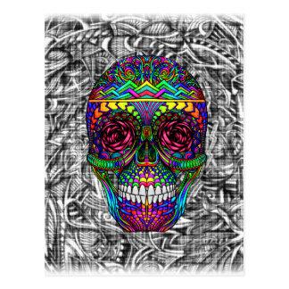 Carte Postale Tête morte en spirale d'art abstrait de crâne de