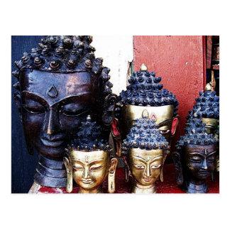 Carte Postale Têtes de Bouddha