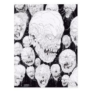 Carte Postale Têtes laides putréfiées de zombis