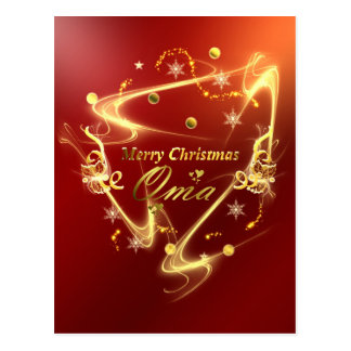 Carte Postale texte d'or de Noël d'oma