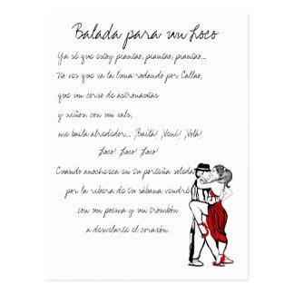 Carte Postale Textes de tango de fou de l'ONU de Balada Para