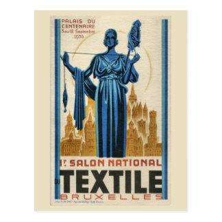 Carte Postale textile de Bruxelles d'art déco des années 1930