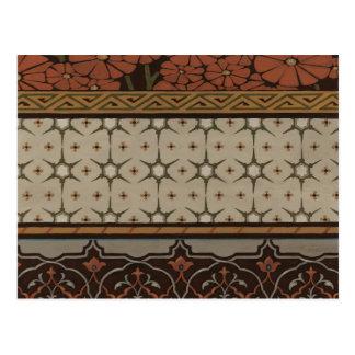 Carte Postale Textile d'héritage avec les motifs décoratifs