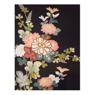Carte Postale Textile japonais de KIMONO, motif de fleuron