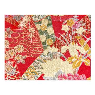 Carte Postale Textile japonais de KIMONO, motif floral