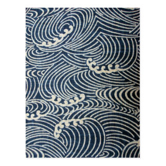 Carte Postale Textile japonais vintage, motif de vague