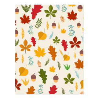 Carte Postale Thankgiving decoritive saisonnier de feuille