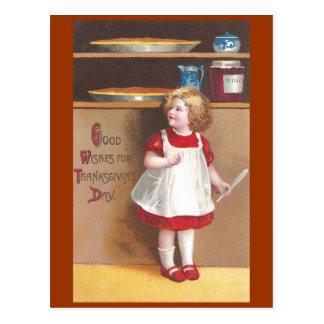 Carte Postale Thanksgiving de cru de tartes de fille et de