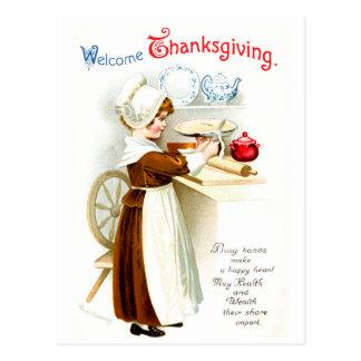 Carte Postale Thanksgiving vintage - tarte de cuisson de pèlerin