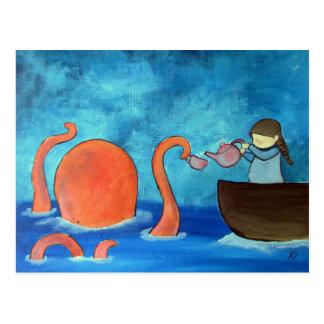 Carte Postale Thé lunatique de poulpe de fille d'art d'enfants
