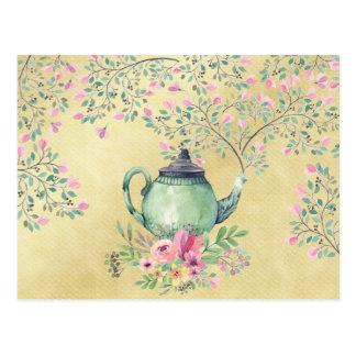 Carte Postale Théière d'aquarelle et or élégants de fleurs