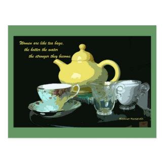 Carte Postale théière et thé