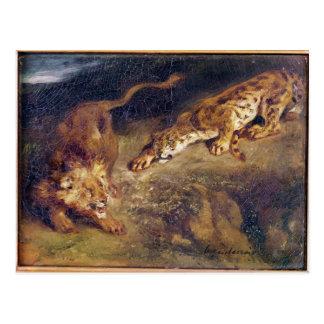 Carte Postale Tigre et lion