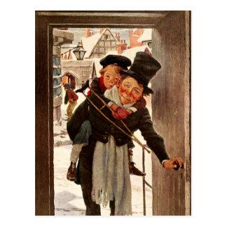 Carte Postale Tim et Bob minuscules Cratchit le jour de Noël