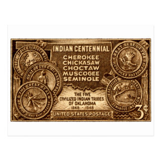Carte Postale Timbre 1948 centennal indien de l'Oklahoma