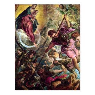 Carte Postale Tintoretto - bataille d'Arkhangel Michael avec