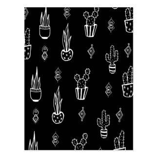 Carte Postale Tiré par la main noir et blanc de cactus de Boho