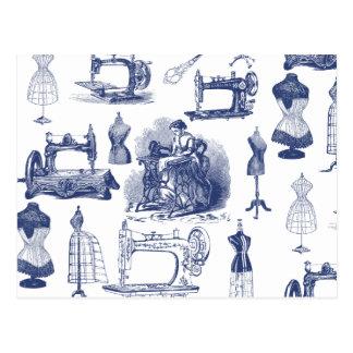 Carte Postale Toile de couture vintage