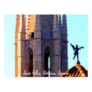 Carte Postale Toit de la cathédrale de Sant Feliu, Gérone,