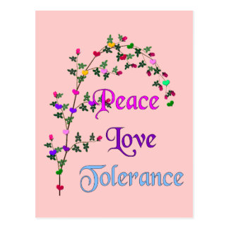 Carte Postale Tolérance d'amour de paix
