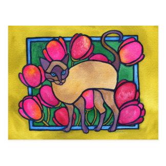 Carte Postale Tonkinese et tulipes