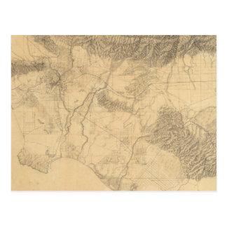 Carte Postale Topographie de Los Angeles et de San Bernardino