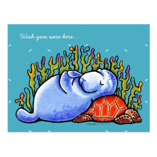 Carte Postale Tortue de mer et lamantin