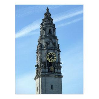 Carte Postale Tour d'horloge d'hôtel de ville, Cardiff