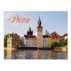Carte Postale Tour d'horloge par la rivière de Vltava, Prague