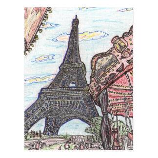 Carte Postale Tour Eiffel avec la beuverie