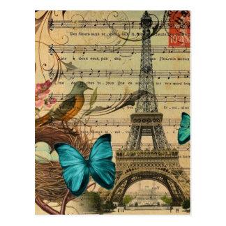 Carte Postale Tour Eiffel bleu de Paris de nid d'oiseau de Robin