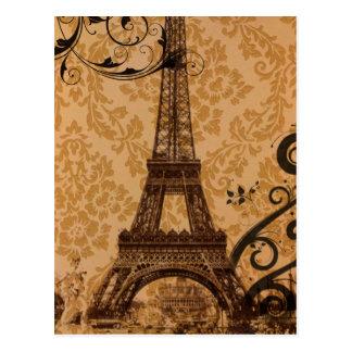 Carte Postale Tour Eiffel chic de Bohème de Paris de damassé
