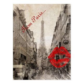 Carte Postale Tour Eiffel chic minable de Paris de baiser rouge