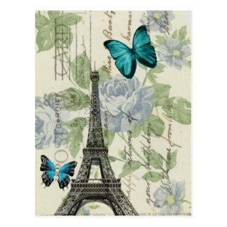 Carte Postale Tour Eiffel floral bleu de Paris de papillon de